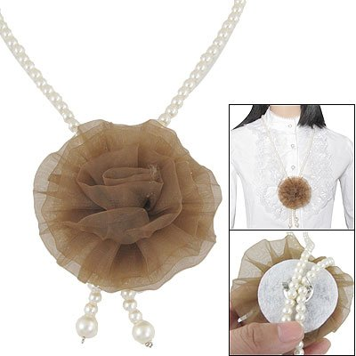 Rosallini Ladies Fashion Jewelry Faux Pearls Brooch Long Necklace