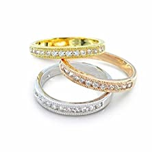 buy Bling Jewelry Stackable Micropave Cz Silver Yellow And Rose Gold Plated Rings