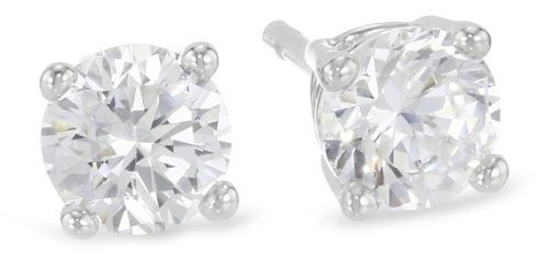 Platinum Plated Sterling Silver Round-Cut Cubic Zirconia Stud Earrings