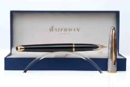 Waterman Carene Deluxe Gift Box includes Medium Nib silver Plated Gold Trim Fountain Pen - Black Lacquer