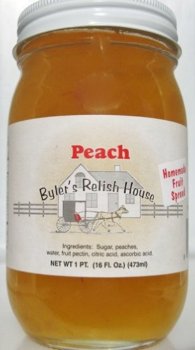 Byler's Relish House Homemade Amish Country Peach Jam Fruit Spread 16 oz