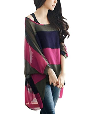 Lady Boat Neck Cape Sleeve Color Block Striped Shirt w Tank Top Fuchsia  Size L