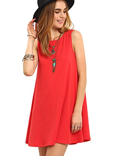 SheIn Women's Summer Casual Sleeveless Tie Back Shift Dress X-Small Red
