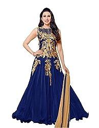 Aarsh Apparel Women's Net Unstitched Dress Material (Blue)