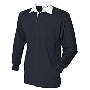 Front Row Long Sleeve Rugby Shirt , Black, XXLarge