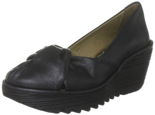 Fly London Women's Yard Black Borgogna Wedges Heels P500121014 4 UK