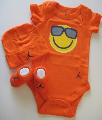 Nike Jordan New Born Baby Boy/Girl Bodysuit, Booties and Cap 0-6 Months One Set 3 Piece Set