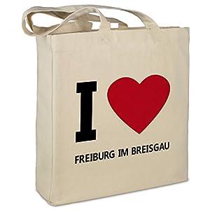 """Stofftasche mit Stadt/Ort """"Freiburg im Breisgau """" - Motiv I Love - Farbe beige - Stoffbeutel, Jutebeutel, Einkaufstasche, Beutel"""
