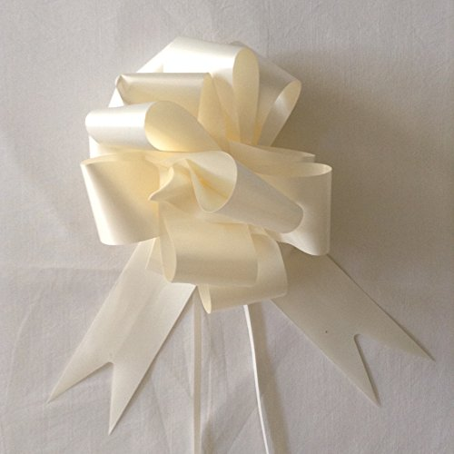 Pack of 30 IVORY 30MM SATIN RIBBON PULL BOW, IDEAL FOR WEDDING, PARTY, CAR DECORATION, WEDDING, FLORIST, AND GIFTS