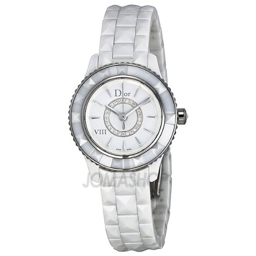 Christian Dior VIII Diamond White Ceramic Ladies Watch CD1221E2C001