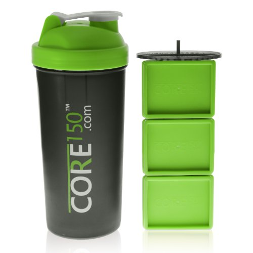 Protein Shaker Compartment: Core150 Green 1 Litre 35oz Protein Shaker Cup With 3