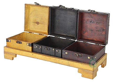 Vintiquewise(TM) Colored Wooden Treasure Chests/Decorative Box on Tray, Set of 3 (Treasure Chest Basket compare prices)