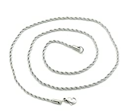 VALYRIA 5pcs Silver Tone Stainless Steel Braiding Twist Chain Necklace 2x0.5mm