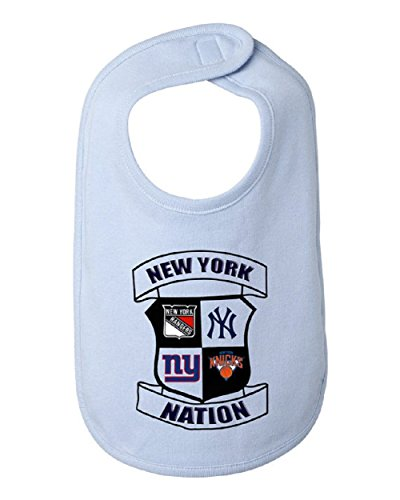 NEW YORK NATION Giants Yankees Rangers Knicks Sports Infant Baby Bib, 100% combed ringspun cotton 5.8 ounce