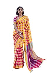 AASRI Women Yellow Red Cotton Blend Printed Work Saree