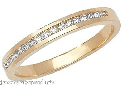 J R Jewellery 412303 9ct Yellow Gold Channel Set Diamond Half Eternity Ring 0.15CTW
