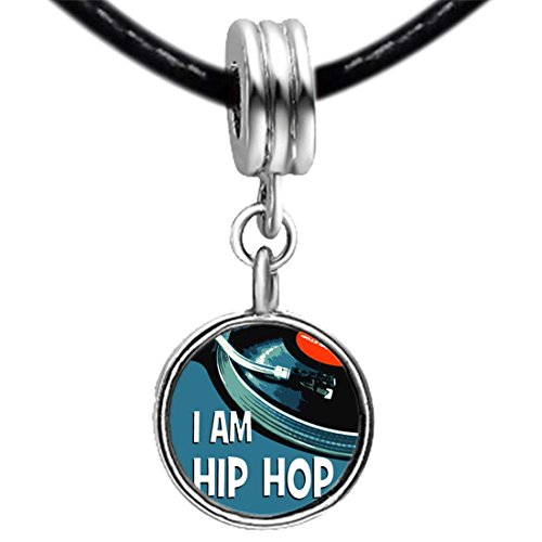 Music I Am Hip Hop White Crystal April Birthstone Flower Dangle Charm Bracelets