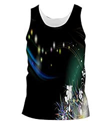 Snoogg White Flowers Mens Casual Beach Fitness Vests Tank Tops Sleeveless T shirts