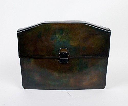 new-berluti-brown-green-leather-medium-portfolio-attache-briefcase-bag