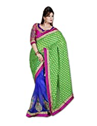 Myfzone Beautiful Partywear Viscose & Net Gorgeous Pink Lace Saree [MFZ001ASF_Green And Blue]