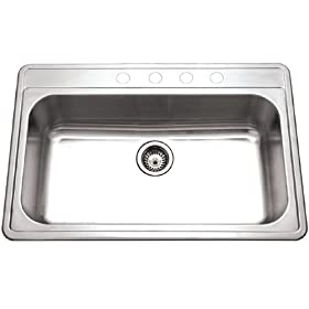 Houzer PGS-3122-1 Premiere 33-by-22-Inch Single Bowl Drop-In Stainless Steel Kitchen Sink