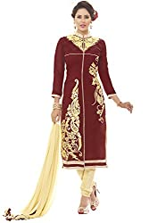 Fabgruh Presents Chanderi Dress Material(Maroon)