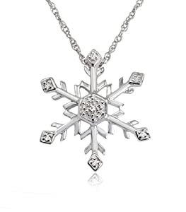 Diamond Snowflake Pendant-Necklace in Sterling Silver (18 inch Chain) from Amanda Rose Collection