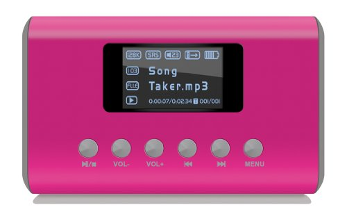 Visual Land ME-909-PNK Mini MP3 Boombox Speaker for MicroSD/SD/USB Flash/Line In and Out/FM Radio (Pink)
