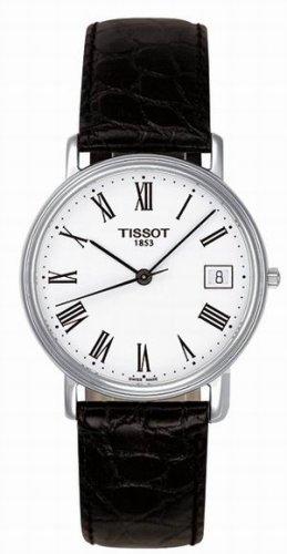 Tissot Men's T52.1.421.13 Black Leather Swiss Quartz Watch with White Dial