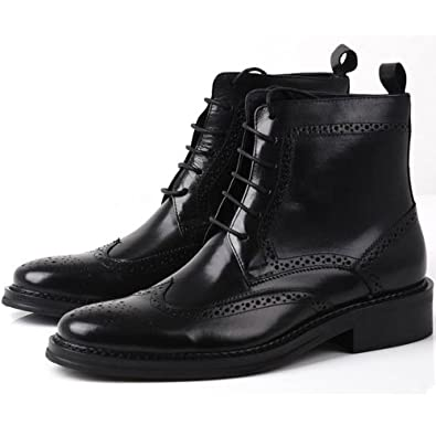 Fulinken Leather Oxford Brogue Wingtip Mens Lace up Boots Dress Leather Military Shoes (6.5, Black)