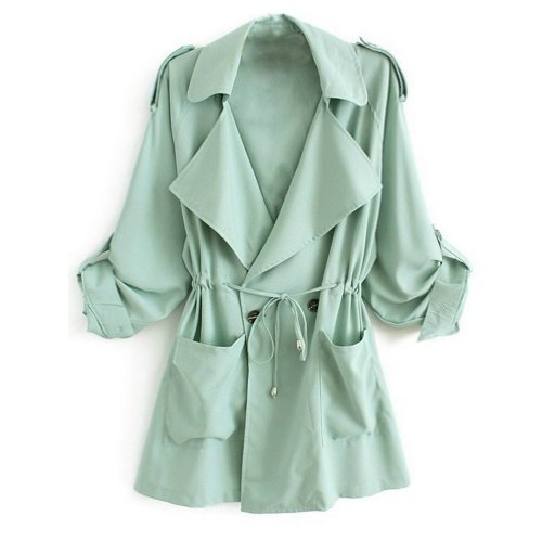 Minetom Cappotto Giacca Manica Lunga Fusciacca Trench Coat Donna ( Verde EU M )