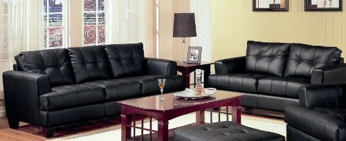 2 Piece Sofa And Loveseat set - Samuel Collection by Coaster In Black Bonded Leather. Free Curbside delivery.