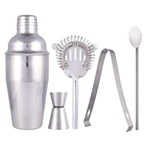 SainStyle Stainless Steel Cocktail Martini Shaker Drink Mixer Jigger Bar 5-Piece Sets... by Lagute