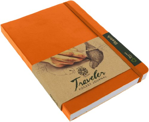 Pentalic Traveler Pocket Journal Sketch, 6-Inch by 8-Inch, Orange