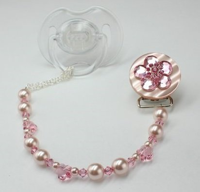 Baby Pink Bling Pacifier Clip (CBLP)