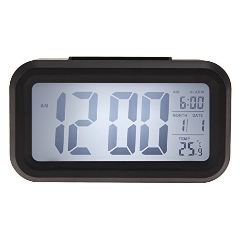 Time Date Alarm Clock Temperature Display LED Alarm Clock Light-activated Sense Snooze Function Calendar Digital Clock Reveil (Sharp Alarm Clock Outlets compare prices)