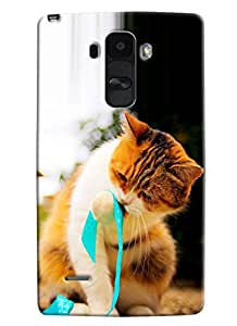 Blue Throat Cat With Ribbon Printed Designer Back Cover/ Case For LG G4 Stylus