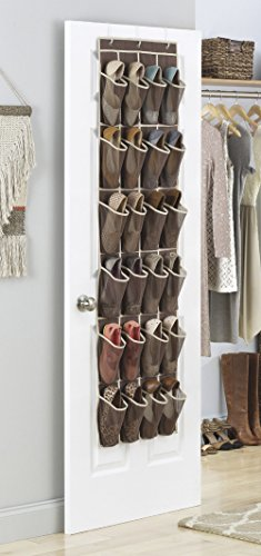 iEFiEL Organisateur Rangement des Chaussures à suspendre derrière Porte de 24 Grilles Poches & 3 Crochets