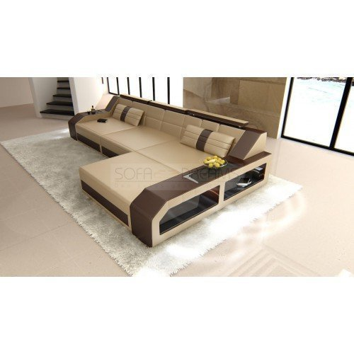 Sofa Arezzo L Form sandbeige-dunkelbraun kaufen