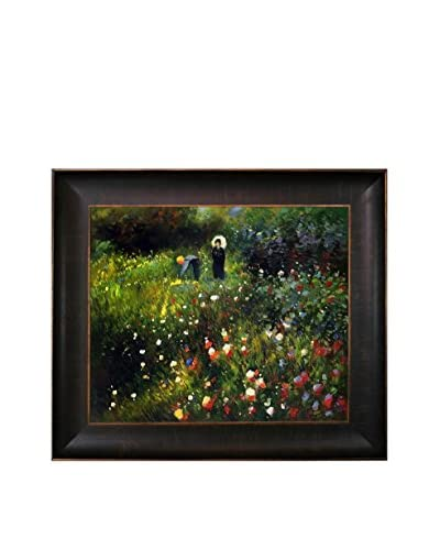 Pierre Auguste Renoir's Woman With a Parasol in a Garden (Frau mi Sonnenschirm) Framed Hand Painted Oil on Canvas, Multi, 26.5″ x 30.5″