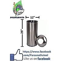 Parasnath Parasnath Heavy Stainless Steel 2 Side Push Dustbin/Push Garbage Bin/Waste Bin 12'' X28''- 50 Litre