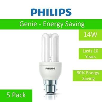 5 Pack Of 14w Genie Philips Energy Saving Light Bulbs Bc B22 Bayonet Cap Fitting 14 Watt
