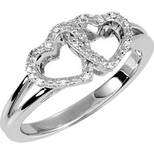 Sterling Silver .05 CTW Diamond Double Heart Design Ring Size 7