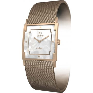 Obaku By Ingersoll Ladies White Mother Of Pearl Dial Gold Mesh Bracelet Watch