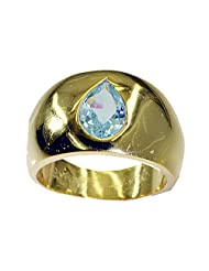 Riyo Blue Divinestar Blue Topaz Cz 18 Ct Y.G. Plated Classic Day Rings Women 14 Gprbtcz7-92026