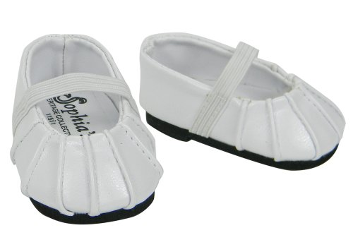 Baby Doll Shoes in White fit for Bitty Baby American Girl Dolls, Ballerina Doll Flats in White - 1