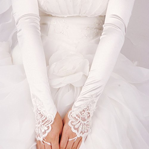 Greenery women bride long satin fingerless pearl lace for Wedding dress with long gloves