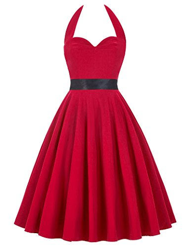 Women's 50s Vintage Sliod Color Rockabilly Picnic Party Dress,Small,Red 50-2