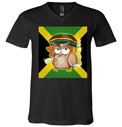 V-Neck T-Shirt: Jamaican Owl Smoking Weed