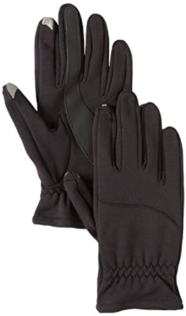 Isotoner Men's Smartouch Knit Glove With Back Tab Unlined, Black, Large